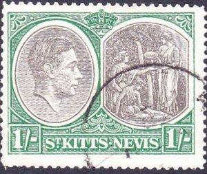 ST KITTS-NEVIS 1950 KGV 1/- Black & Green SG75c FU