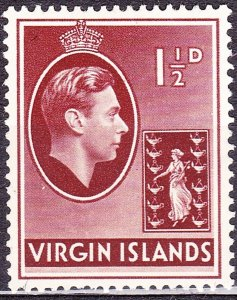 BRITISH VIRGIN ISLANDS 1938 KGVI 1.5d Red-Brown SG112 MH