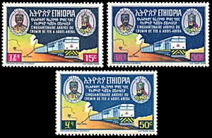 Ethiopia 473-475, MNH, 50th Anniversary of Addis Ababa-Djibouti Railroad