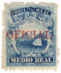(I.B) Costa Rica Postal : ½c Ultramarine (Oficial)