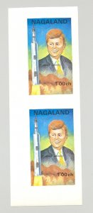 Nagaland (Propaganda) 1971 Kennedy, Space 1v Imperf S/S Collective Proof Pair
