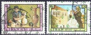 LEBANON SCOTT #C693+C696   **USED** 1973    40p+ 85p   SEE SCAN