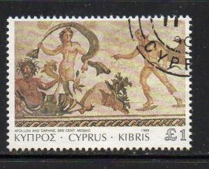 Cyprus Sc 750 1989 1 pound Aplion & Daphne stamp used