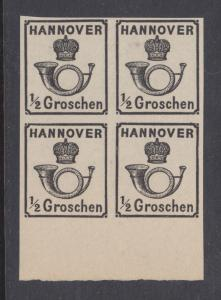 Hannover Sc 18 MNG Block of 4 reprint of 1860 ½gr black on thick toned paper, VF