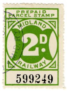 (I.B) Midland Railway : Prepaid Parcel Stamp 2d