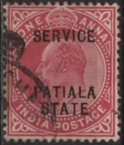 India: Patiala O21 (used) 1a Edward VII, car rose, ovptd (1903)