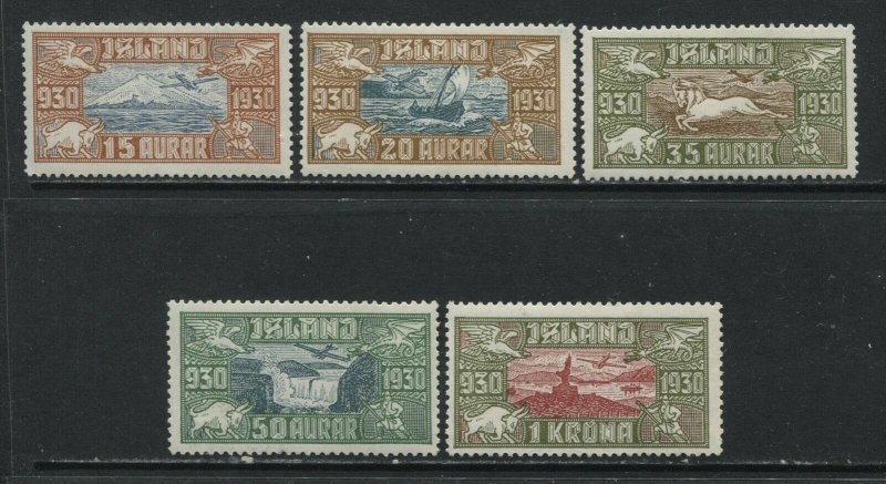 Iceland 1930 complete Airmail set mint o.g. hinged