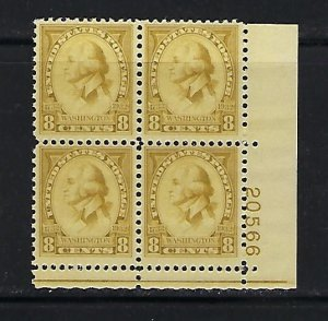 US #713 1932 WASHINGTON ISSUE 8C (OLIVE) - PLATE# BLOCK OF 4  -MINT NEVER HIGED