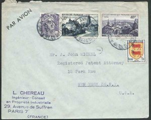 FRANCE 1952 Airmail cover to USA - nice franking...........................58116
