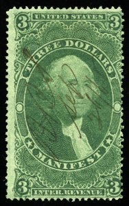 B549 U.S. Revenue Scott R86c $3 Manifest, manuscript cancel, CV = $55