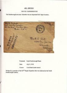 1918, AEF in BEF: South Farnborough, 827th Aero Sqd., See Remark (M3856)