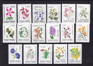 Argentina 1983 to 1985 set of 17 Flowers Flora Plant Nature Flower Stamps MNH
