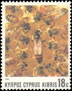 Cyprus #729-732, Complete Set(4), 1989, Insects, Bees, Never Hinged