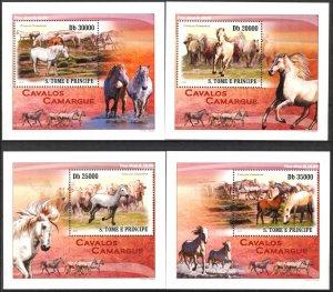 {020} Sao Tome & Principe 2010 Horses 4 S/S Deluxe MNH**