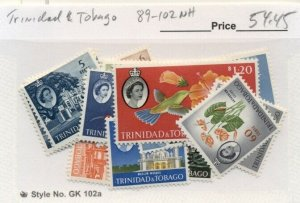 TRINIDAD & TOBAGO #89-102, Mint Never Hinged, Scott $54.45
