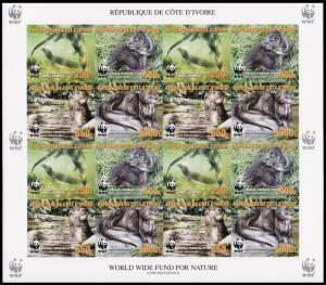 Ivory Coast WWF Speckle-throated Otter imperforated Sheetlet of 4 sets with