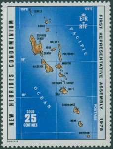 New Hebrides 1976 SG211 25c Map MNH