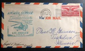 1950 Glendora CA USA airmail First Helicopter Flight Cover FFC Los Angeles Area