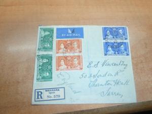 British KUT 1937 Coronation 3 color pairs Reg cover Mbarara  (11bed)