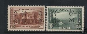 Canada #O243 #O244 VF Mint Perf OHMS Duo