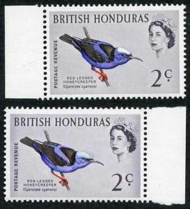 British Honduras SG203a 1962 Birds 2c Turquoise-blue (birds head) omitted U/M