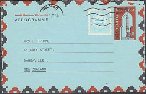 BAHRAIN 1985 75f aerogramme + tax stamp commercially used to New Zealand....J989