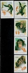 Cuba MNH 3918-22 Chimpanzees Primates