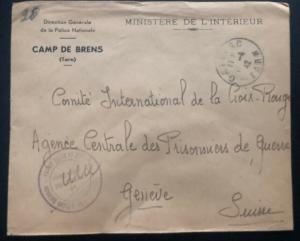 1942 France Concentration Internment Camp Brens Police Guard Cover To Redcross B