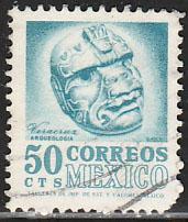 MEXICO 1091, 50c 1950 Defin 9th Issue Unwmkd Fosfo Glazed. USED. F-VF. (1445)