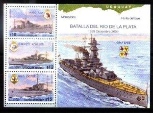 URUGUAY 2009 GERMAN NAVY SHIP GRAF SPEE MILITARIA S/SHEET YV BL89 MNH