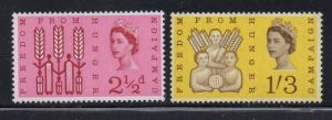 Great Britain Sc 390p-1p 1963 Freedom from Hunger Phosphor stamp set mint NH