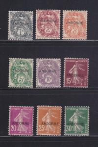 Andorra French 1-9 MH Overprints
