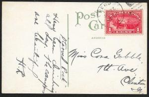 Scott #Q1 postally used postcard Fox River Aurora Illinois Used August 27 1913