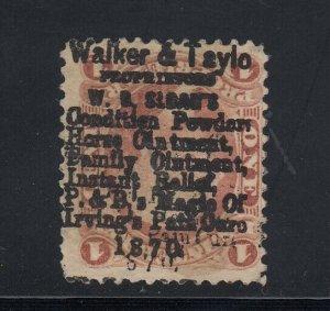 USA 1c  Walker & Taylor  1870 10-line Stempel (Scott R3c)