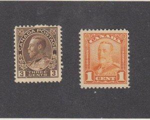 CANADA (MK6703) # 108,149  F-VF-1MNH/1MH 1,3cts  KGV ADMIRAL & SCROLL CV $93