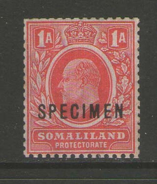 Somaliland Protectorate 1909 KEVII SG59s SPECIMENT