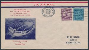 #718-719 OLYMPICS FDC CACHET BY RICE JUNE 15,1932 CV $150 BU2420