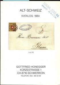 Honegger: Sale # Net Price  -  Alt-Schweiz Katalog 1984, ...