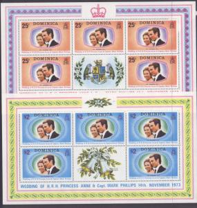 Dominica 372-3 sheets MNH Princess Anne, Mark Phillips Wedding