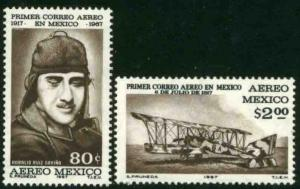MEXICO C325-C326, 50th Anniversary of the 1st Air Mail Flightt MINT, NH. VF.