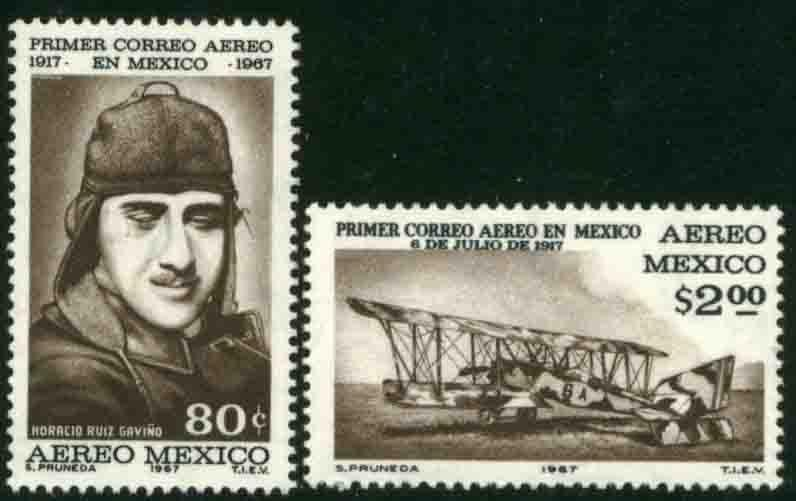 MEXICO C325-C326, 50th Anniversary of the 1st Air Mail Flightt NH