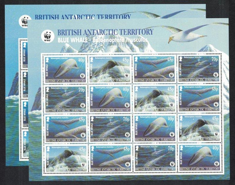 BAT WWF Blue Whale 2 Sheetlets Dark And Pale-blue backgrounds Colour varieties
