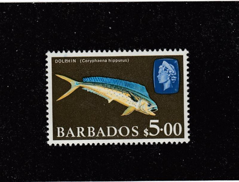 BARBADOS # 280A VF-MNH $5 DOLPHIN HIGH VALUE CAT VALUE $17.50