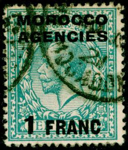 MOROCCO AGENCIES SG199, 1f on 10d turquoise-blue, USED, CDS.