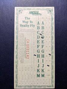 U.S. Metro rail passenger receipt VF, CV $5