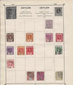 ceylon stamps on scott album page ref 10750