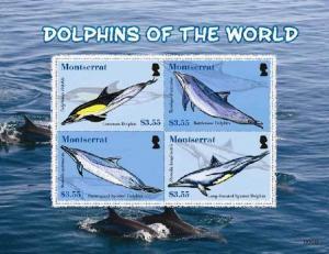 Montserrat - Dolphins -  Sheet of 4 Stamps MOT0803