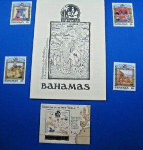 BAHAMAS 1988  -  SCOTT # 640-643 & 644 S/S  MNH     (SM2)