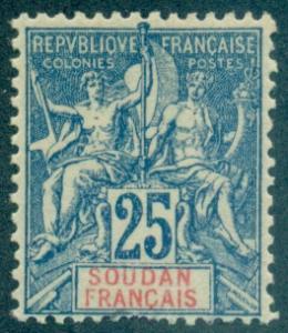 French Sudan #13 Mint  Scott $8.50   Short Perfs