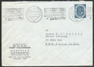 GERMANY 1953 30pf posthorn on cover Munich to New York.....................59083
